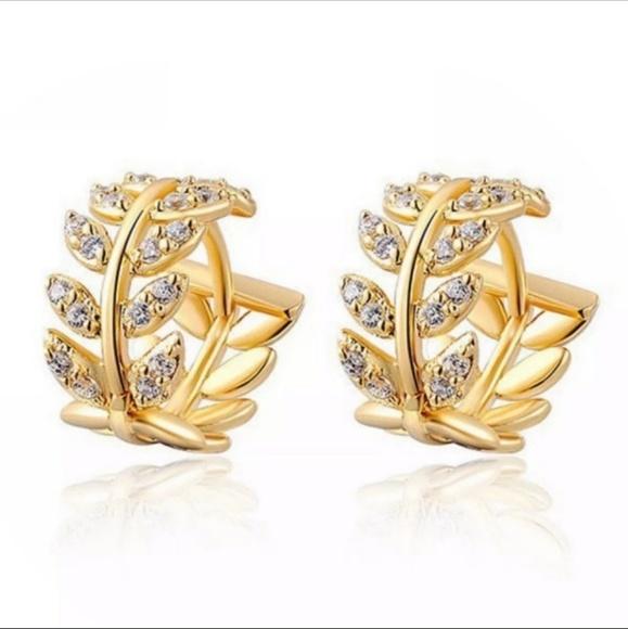 Jewelry - Tiny Leaf Crystal Huggie Earrings